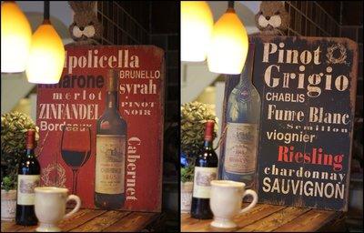 美式鄉村風 立體英文字母紅酒木版畫壁飾...