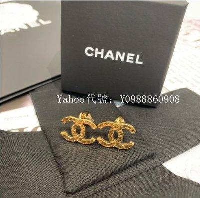 里昂二手正品  Chanel 金色 雙C LOGO 壓印圖騰 夾式 女士耳環 現貨
