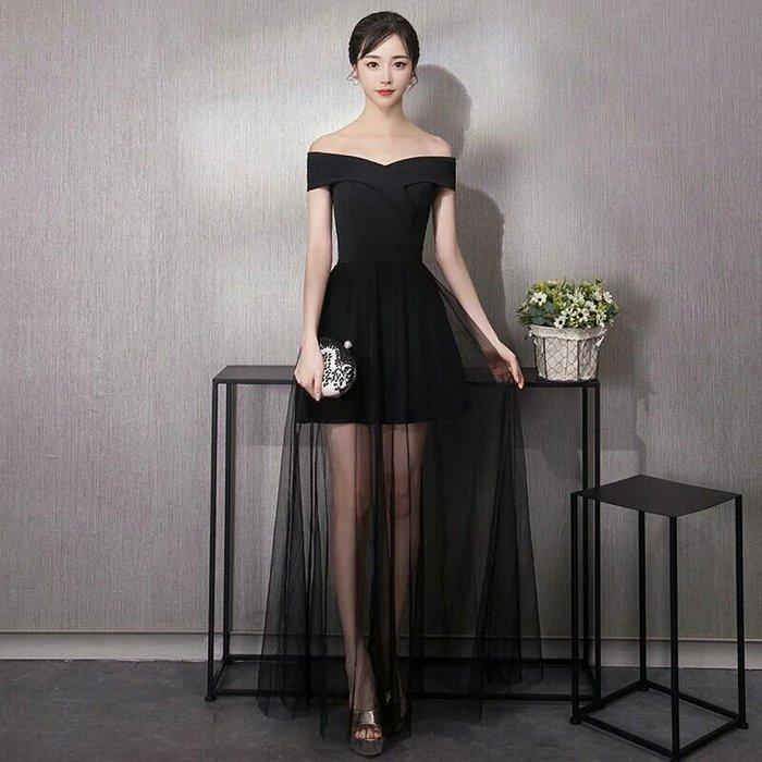 天使佳人婚紗禮服旗袍~~一字肩v型黑色透紗禮服