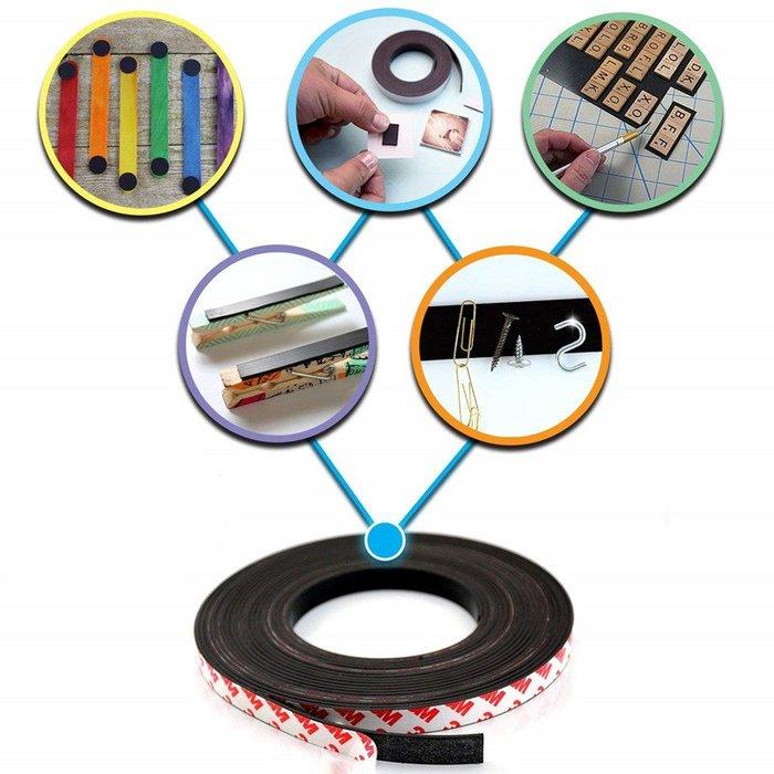 wuli西子的店--橡膠軟磁條貼教學教具磁鐵強磁紗窗門簾強力吸鐵石背膠磁性貼片