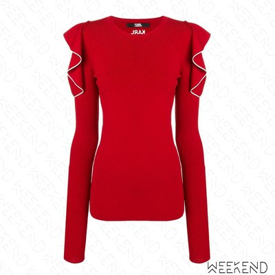 【WEEKEND】 KARL LAGERFELD Logo Ruffle 卡爾 荷葉袖 露肩 長袖 上衣 紅色 19春夏