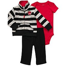 【安琪拉 美國童裝/生活小舖】Carter's 黑灰橫條紋刷毛套裝 –連帽外套+包屁衣+長褲