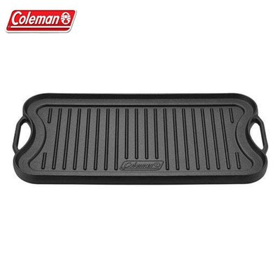 【大山野營】Coleman CM-21879 經典鑄鐵煎盤 鑄鐵烤盤 雙面烤盤 雙耳煎盤 長方形烤盤 鐵板燒