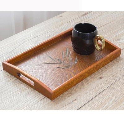『哲原雜貨』托盤實木制長方形茶杯水杯酒店餐廳家用早餐茶水果盤大號木質餐具/CK9998
