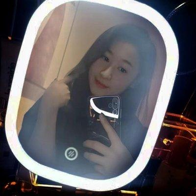 化妝鏡化妝鏡臺式LED帶燈宿舍桌面梳妝鏡女網紅便攜隨身補光美妝小鏡子   全館免運