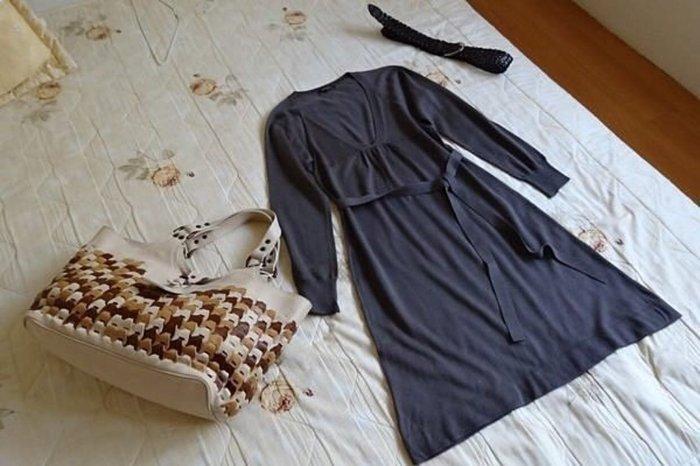 【23區】深紫灰針織洋裝 (38號) ~多種穿法