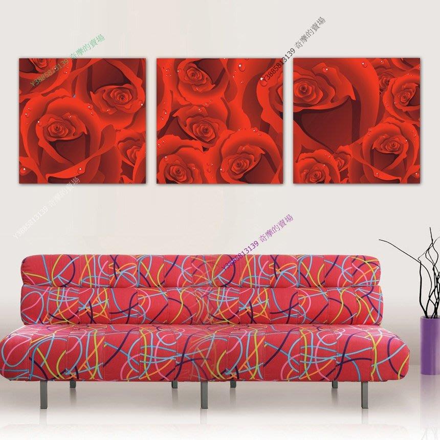【50*50cm】【厚2.5cm】紅色玫瑰浪漫-無框畫裝飾畫版畫客廳簡約家居餐廳臥室【280101_071】(1套價格)