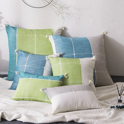 北歐風格子沙發抱枕床上長方形靠背腰枕不含芯家用大靠墊簡約現代【最小尺寸】