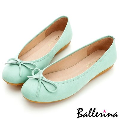 Ballerina-MIT牛皮雙色打蠟蝴蝶結豆豆鞋-綠【BT600015GN】