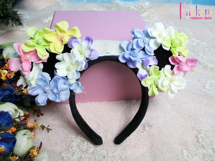 ☆[Hankaro]☆ 歐美新款派對LED發光彩色花朵貓耳髮箍~(合併批發另洽)