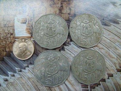 ☆豐臣館☆錢幣 澳大利亞 1969.1972.1980.1981年 50 Cents 錢幣4枚C31.32