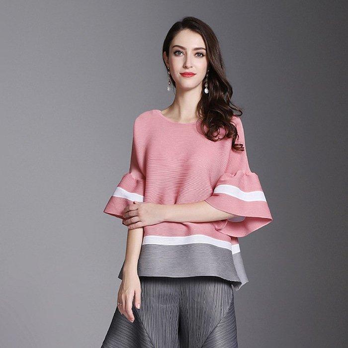 條紋 三宅風格 皺摺衣 喇叭袖 粉色 黑色 紅色 襯衫 ~ 3H001