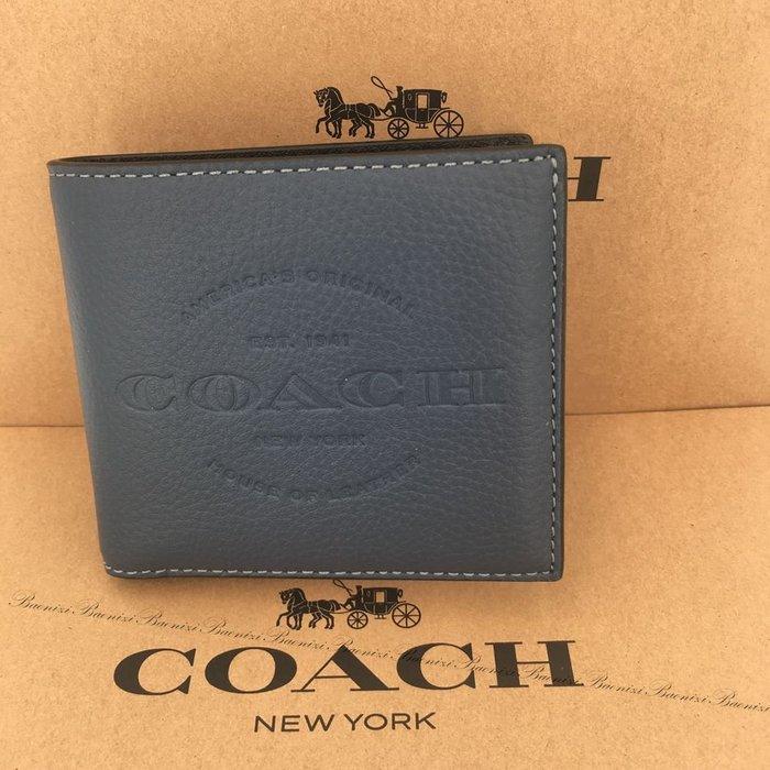 《現貨免運費》保證真品 COACH 經典LOGO烙印皮革中短夾.藍 男用中夾短夾 最新款