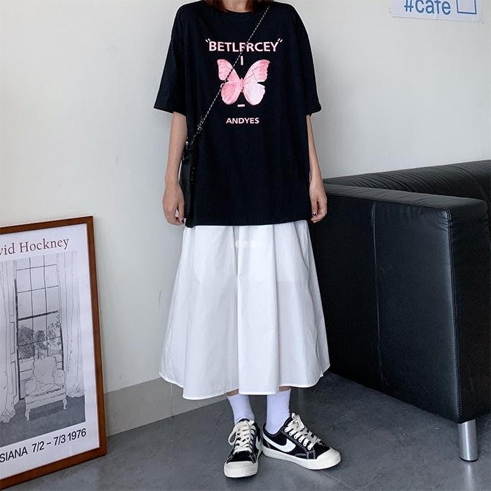 {彩衣閣} 工裝裙女港風2020年夏季潮新款日系復古高腰顯瘦中長款半身裙A字裙