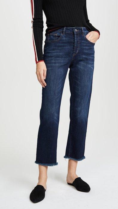 ◎美國代買◎DL1961 Patti Sulton抽鬚褲口波紋刷色復古高腰寛鬆直筒九分牛仔褲