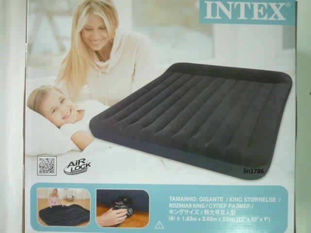 INTEX66770 原廠帶枕頭雙人加大充氣床183cm*203cm*23cm收納袋絨面床墊露營床 氣墊床飯店加床