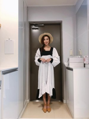 『Golden WEEK 30/30』--韓國連線--澎澎袖拼接跳色魚尾洋裝(雀兒喜&娜小編自留款!)