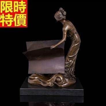 銅雕擺件 翻書少女-書房文藝氣息擺設雕塑工藝品66v24[獨家進口][巴黎精品]