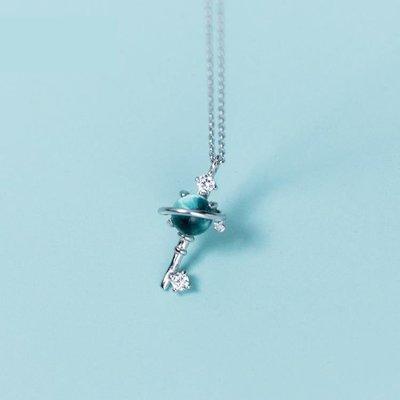 項錬  銀極光項錬女韓版小清新鑲鉆合成藍琉璃宇宙鎖骨錬  zr2041