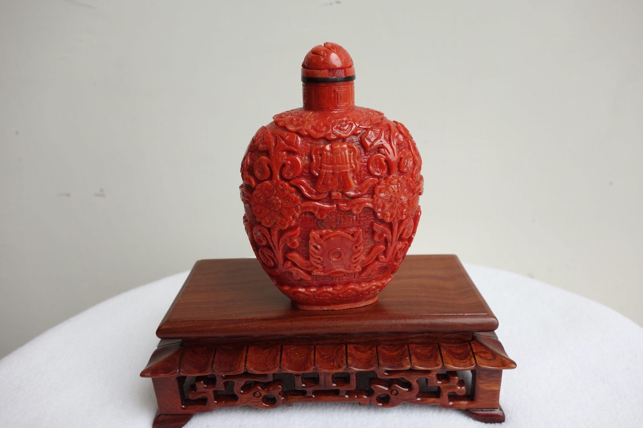 早期收藏-紅珊瑚鼻煙壺