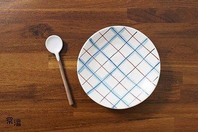 [格線小碟]  紅白 藍 手繪 水彩 染 陶瓷 微波 收納 首飾 點心 鄉村 雜貨 格紋 法蘭絨 塗鴉 文具