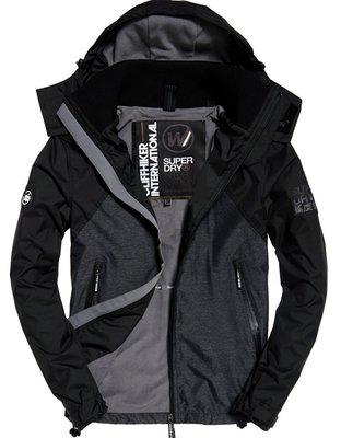 跩狗嚴選 極度乾燥 Superdry Hybrid 輕便 單層防水拉鍊 風衣 刷毛 外套 黑灰 黑 混血者夾克