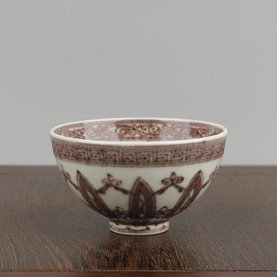 ㊣姥姥的寶藏㊣明永樂釉里紅纏枝花卉紋雞心碗雞心杯功夫茶杯酒盃
