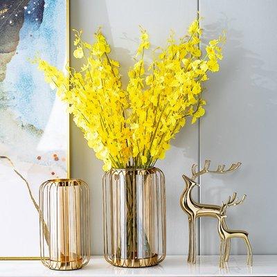 花瓶現代輕奢花瓶擺件客廳插花干花美式餐桌創意簡約家居電視柜裝飾品