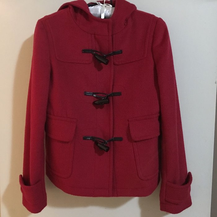 二手G2000紅色毛料外套 連帽短版牛角扣外套 可面交
