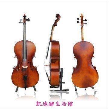 【凱迪豬生活館】送座架琴包!限時特價!意大利風格高檔亞光4分4成人兒童大提琴手工制作練習表演大提琴 高檔次演湊大提琴 拍攝道具KTZ-201055