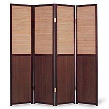 高級木塑板實木框竹簾屏風