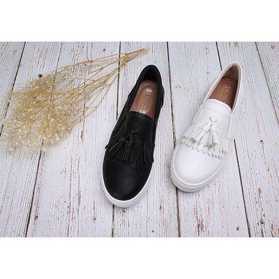 【富發牌】流蘇點綴厚底懶人鞋-黑/白 1BE52 【采靚鞋包精品】