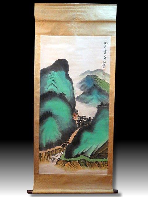 【 金王記拍寶網 】S1990  張大千款 潑彩 山水圖 手繪書畫捲軸一幅 罕見 稀少~