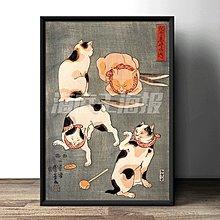 現代裝飾畫日本風俗畫浮世繪百貓圖復古懷舊日料店酒吧(多款可選)