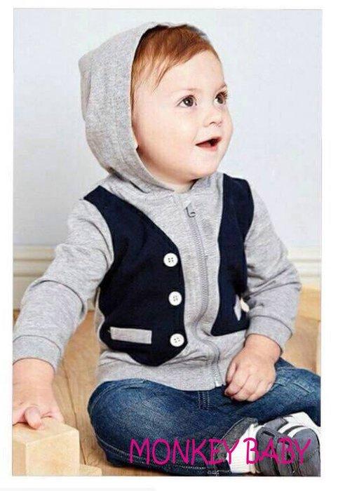 滿699 【MONKEY BABY 】幼童假2件灰色連帽外套 72281