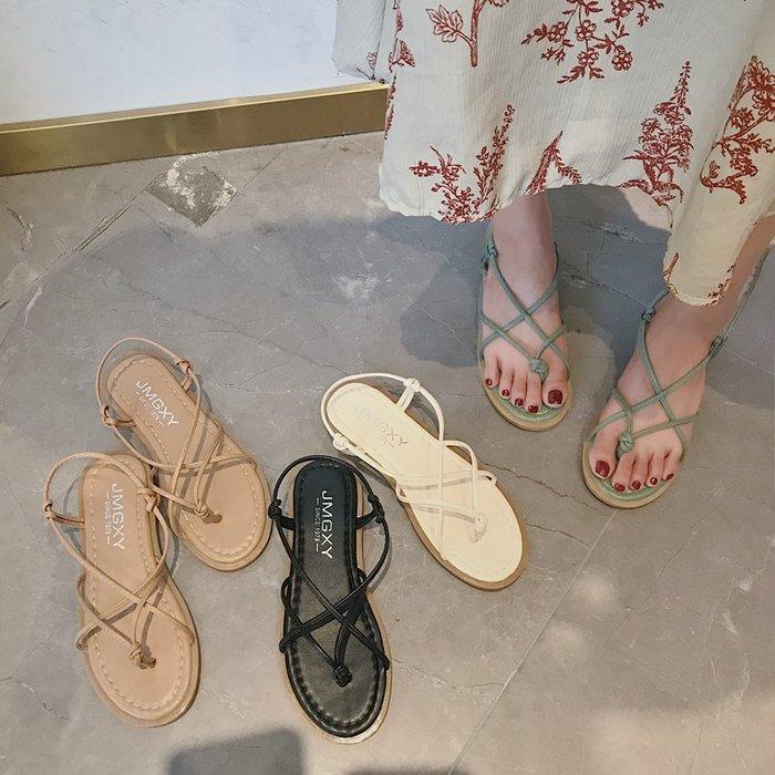涼鞋 2019新款夏季涼鞋女平底夾趾韓版百搭學生仙女風度假羅馬沙灘鞋