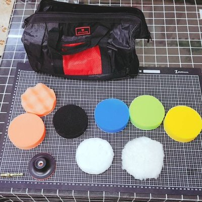 尚溢五金-含小手提工具袋-代號S5.8-11件打蠟組-3吋磨盤搭配 約4吋打蠟海綿毛輪-適用於電鑽-汽車與機車打蠟上蠟