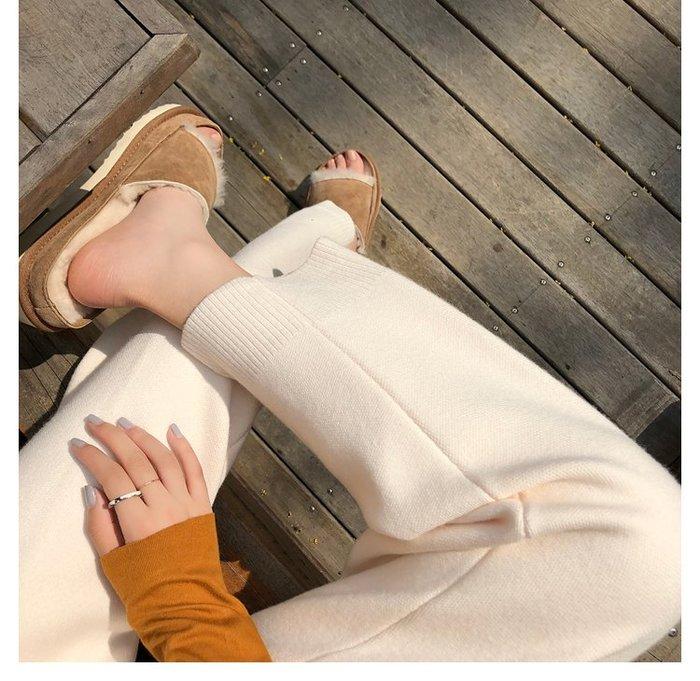 NANA'S【O1028】百搭奶奶褲~chic韓國秋冬厚實休閒燙經線直筒針織褲 預購