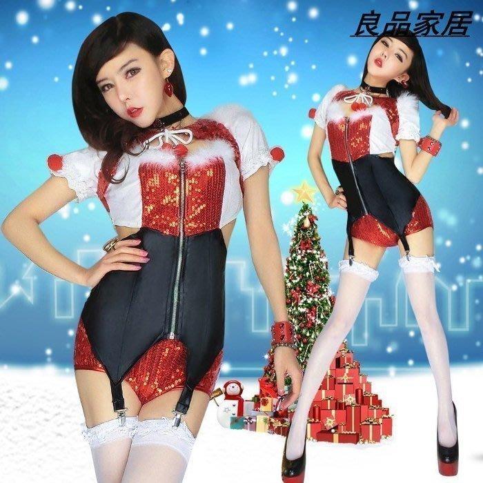 【優上精品】圣誕節服裝  夜場ds演出服圣誕派對女裝亮片性感領舞服連體套裝(Z-P3241)