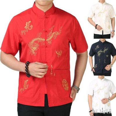 唐裝男中老年半袖爸爸裝夏裝中國風漢服男居士老人唐裝男短袖T恤 QG22828
