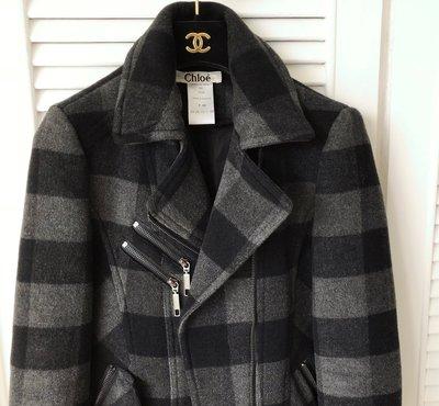 原價16萬Chloe Chloé 黑灰大器格紋厚羊毛🐑軍裝風短大衣