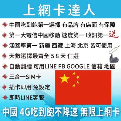 8天 上網卡 高速4G 吃到飽 不降速 中國 大陸 自動翻牆 可用LINE FB 即插即用免設定 有效期限至03/31