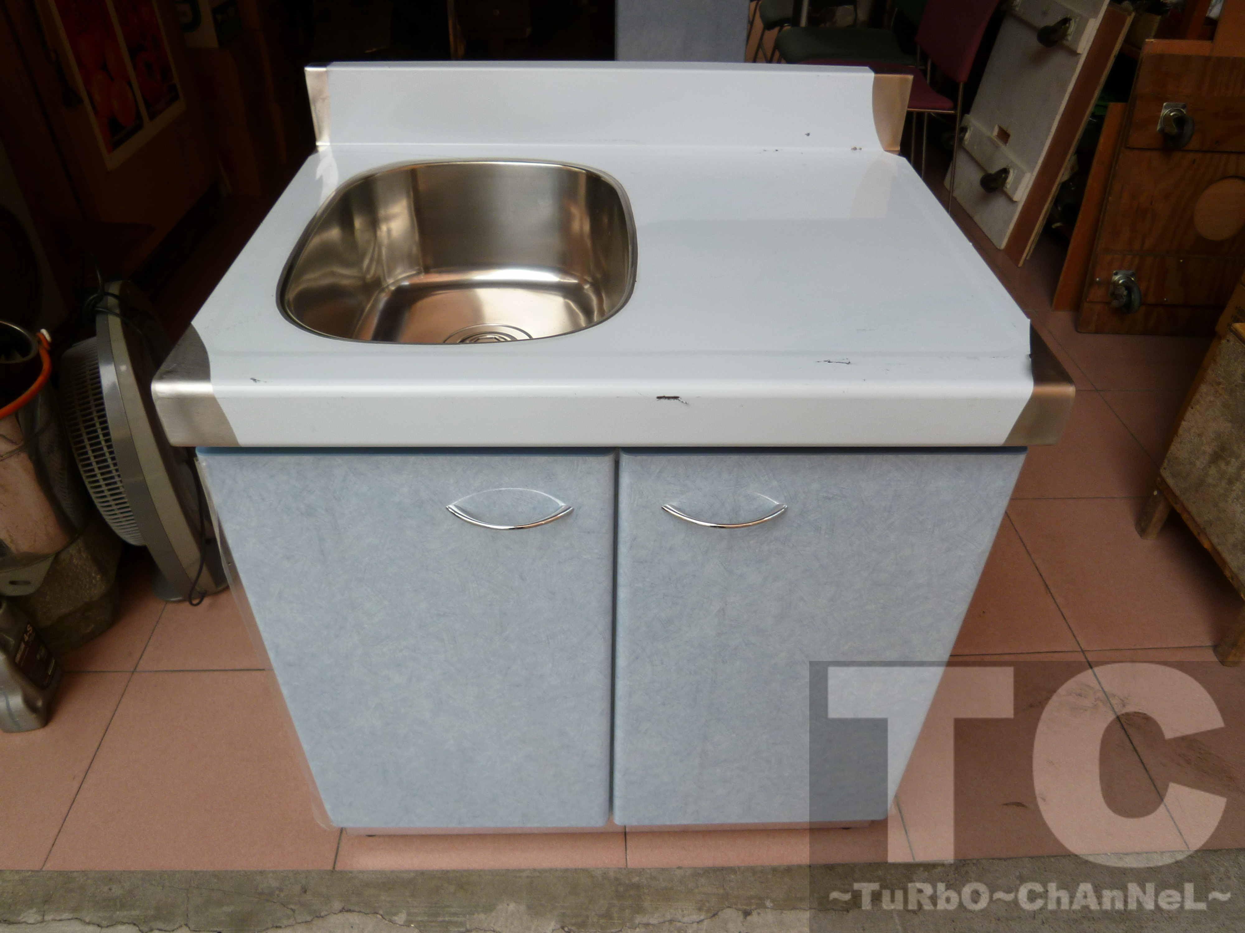 流理台【72公分洗台-左小水槽】台面&櫃體不鏽鋼 淺藍線條紋門板 最新款流理臺