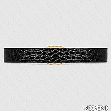 【WEEKEND】 GUCCI GG Marmont 鱷魚皮紋 腰帶 皮帶 4公分 黑色 406831