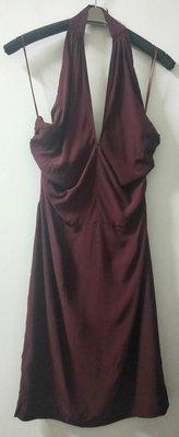 棗紅色 露背短洋裝