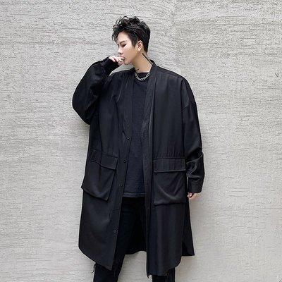 正韓男裝春裝新款暗黑系正韓男士中長款寬松長袖襯衫髮型師工裝襯衣外套潮