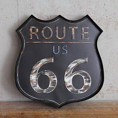 LOFT工業風LED燈牌招牌 ROUTE66號公路燈排壁掛電子燈 美式街頭潮流鐵製酷炫黑盾牌造型餐酒館標誌標示牌鐵皮燈飾