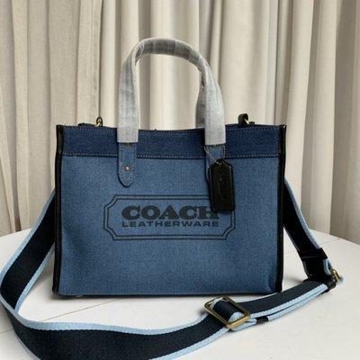 Coach 89163 拼色帆布包 雙面牛仔布 托特包 單肩斜挎 手提女包 子母包