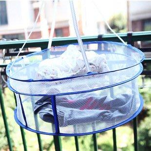 海馬寶寶 雙層封閉式晾衣籃 曬衣籃 晾衣網 可折疊 防風夾加粗鋼絲