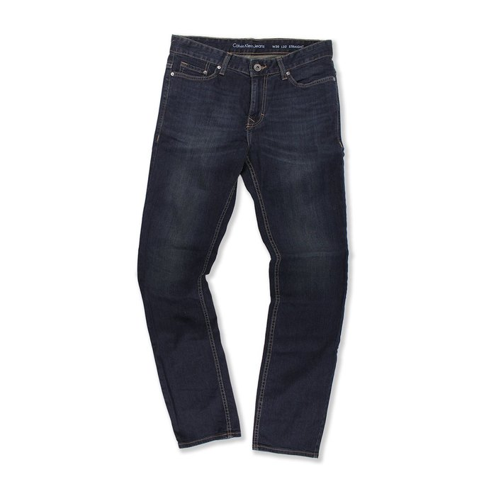 美國百分百【Calvin Klein】牛仔褲 CK 休閒褲 長褲 單寧 直筒 合身 深藍 抓紋刷白 大尺碼 G799